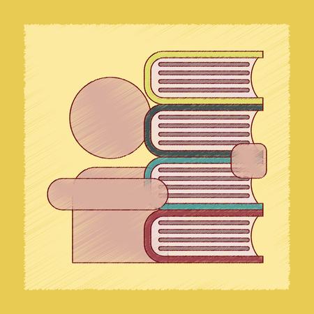 schoolboy: flat shading style icon of schoolboy books Illustration