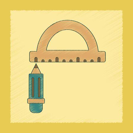 writing instruments: flat shading style icon of pencil ruler Illustration