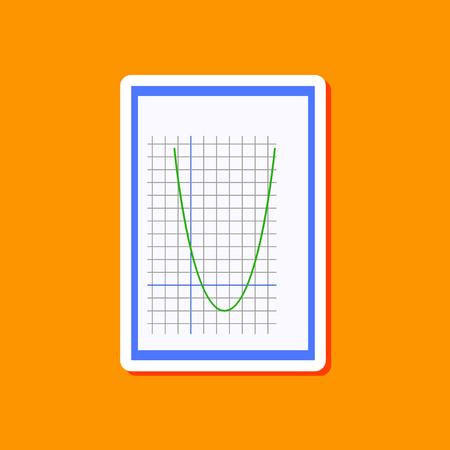 cos: paper sticker on stylish background of Mathematics graph