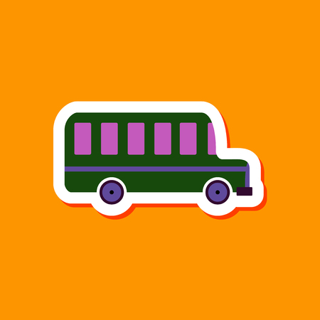 motor coach: paper sticker on stylish background of bus