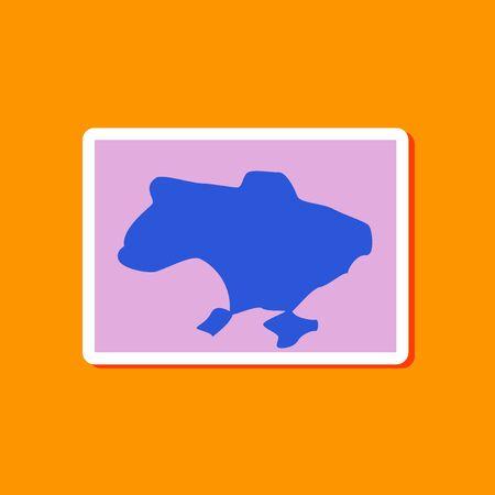 paper sticker on stylish background of map Ukraine