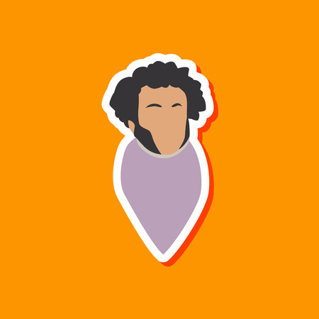 paper sticker on stylish background of Alexander Pushkin Illustration