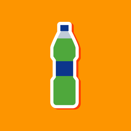 aerated: paper sticker on stylish background of soda bottle