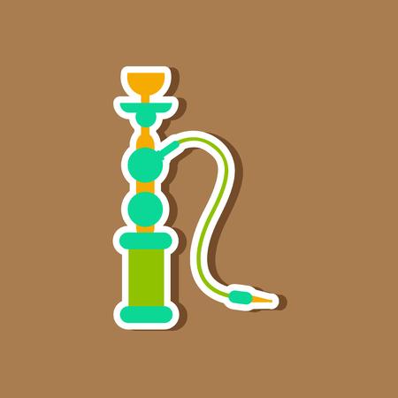 eastern: paper sticker on stylish background Eastern smoke hookah