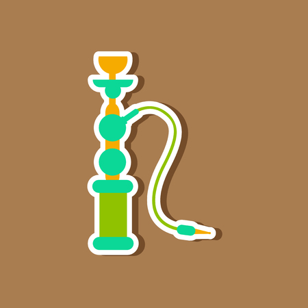 turkish ethnicity: paper sticker on stylish background Eastern smoke hookah