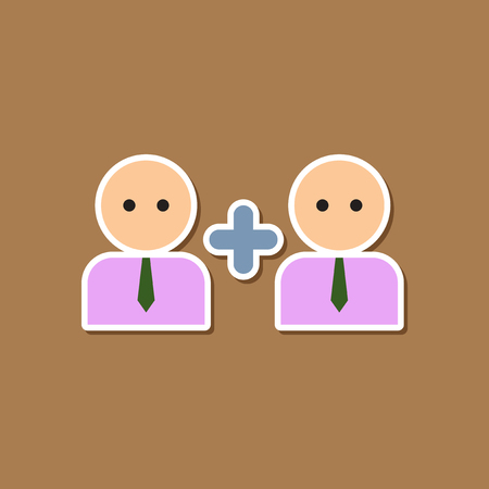homosexual sex: paper sticker on stylish background gays love family Illustration