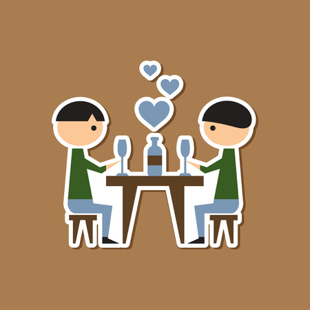 dinner date: paper sticker on stylish background gays romantic dinner Illustration