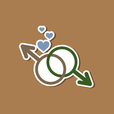 paper sticker on stylish background gays male symbol