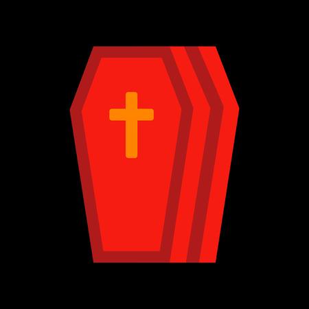 trumna: stylowy płaski ikonę na tle Halloween trumny