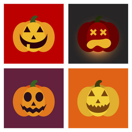 angry vegetable: assembly of flat icons halloween emotion pumpkin Illustration