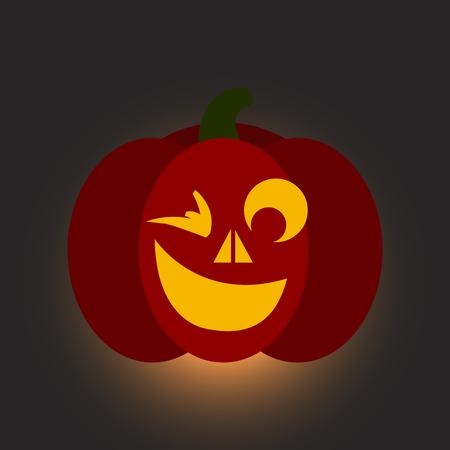 angry vegetable: flat icon on stylish background halloween pumpkin