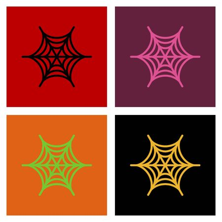 horrific: assembly of flat icons halloween spiders web
