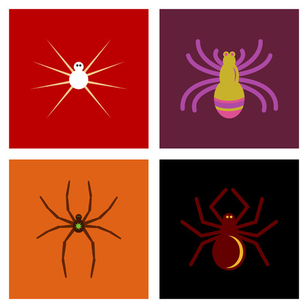 halloween spider: assembly of flat icons halloween spider Illustration