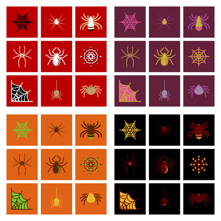 terrify: assembly of flat icons halloween spider web