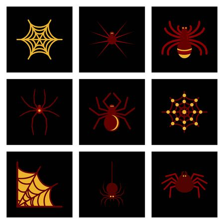 horrific: assembly of flat icons halloween spider web