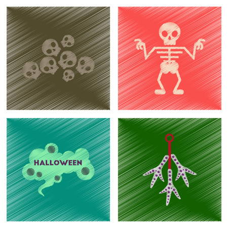 assembly flat shading style icons of halloween skeleton sign chicken feet skulls