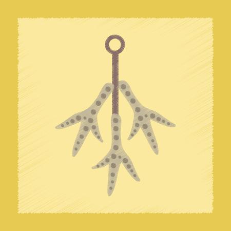 shin: flat shading style icon of halloween chicken feet