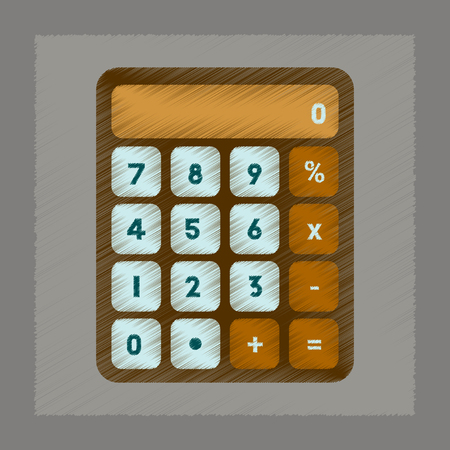 economic development: flat shading style icon of electronic calculator Illustration