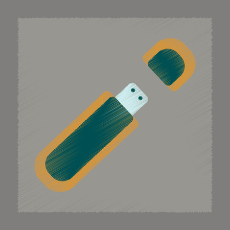 microdrive: flat shading style icon of flash drive