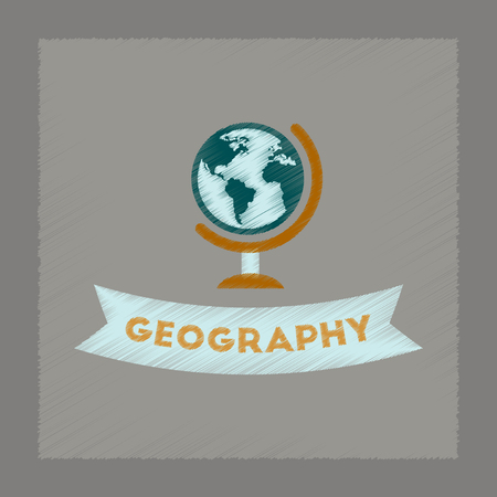 geography: flat shading style icon of geography lesson Illustration