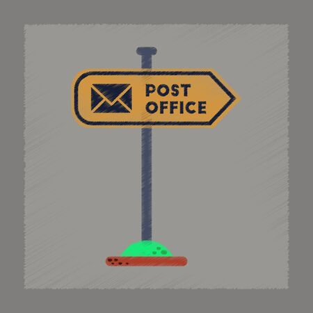 post office building: flat shading style icon of sign post office Illustration