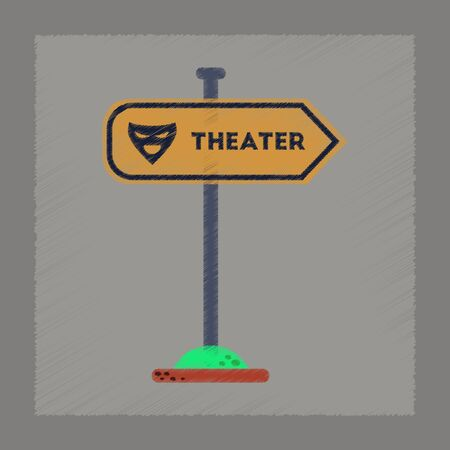 theater sign: flat shading style icon of theater sign