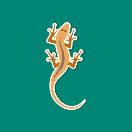 crawling animal: paper sticker on stylish background of lizard reptile Illustration