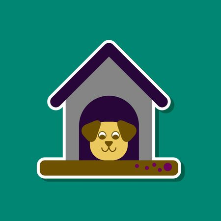 doghouse: paper sticker on stylish background of dog in booth Illustration