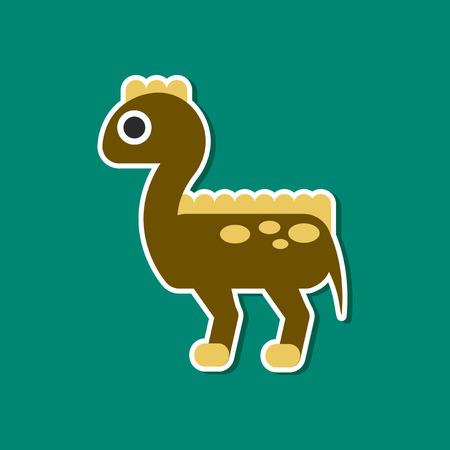 tyrannosaur: paper sticker on stylish background of dinosaur