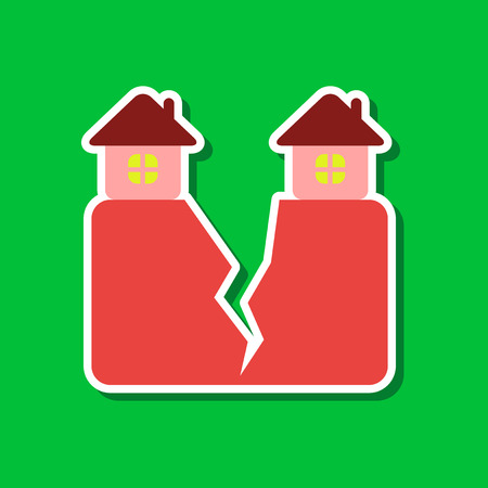 paper sticker on stylish background nature house earthquake