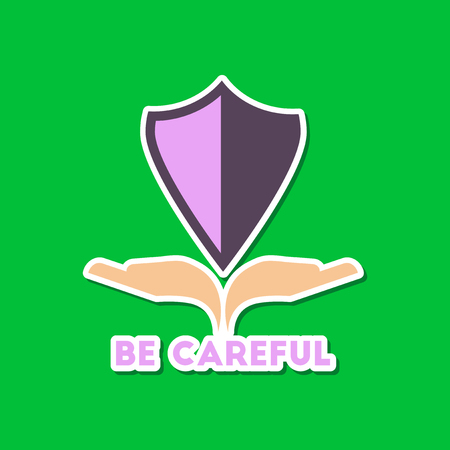 paper sticker on stylish background nature be careful hand shield Illustration