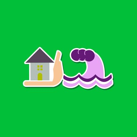 house flood: paper sticker on stylish background nature flood house Illustration