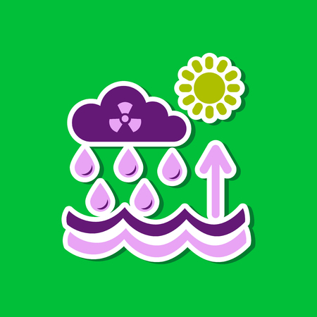 polluted cities: paper sticker on stylish background Radioactive cloud and rain