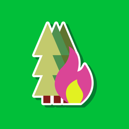 forest fire: paper sticker on stylish background forest fire Illustration