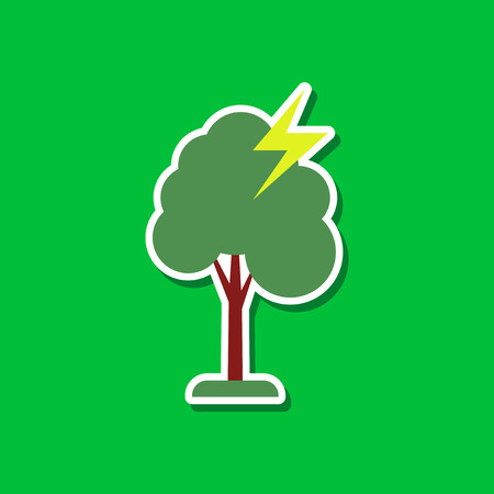 struck: paper sticker on stylish background lightning tree
