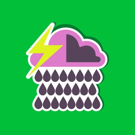 meteorologist: paper sticker on stylish background thunderstorm rain cloud