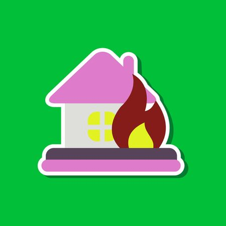 fire damage: paper sticker on stylish background nature fire house