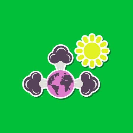 greenhouse effect: paper sticker on stylish background earth greenhouse effect