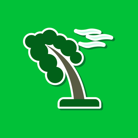 strong wind: paper sticker on stylish background strong wind tree