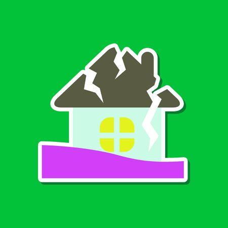 ruined house: paper sticker on stylish background nature house crash
