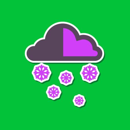 hailstone: paper sticker on stylish background cloud Snow