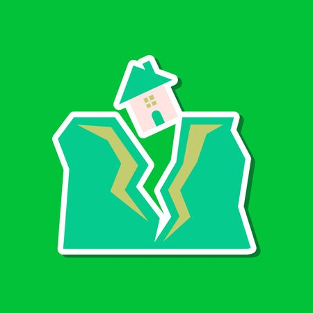 disaster relief: paper sticker on stylish background house earthquake