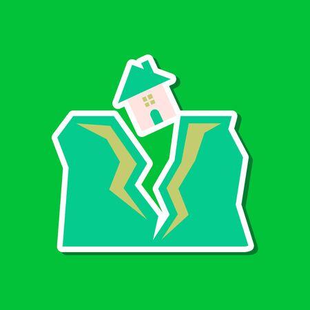 paper sticker on stylish background house earthquake