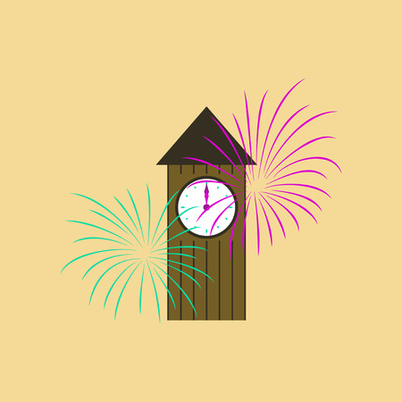 flat illustration on stylish background of Christmas clock