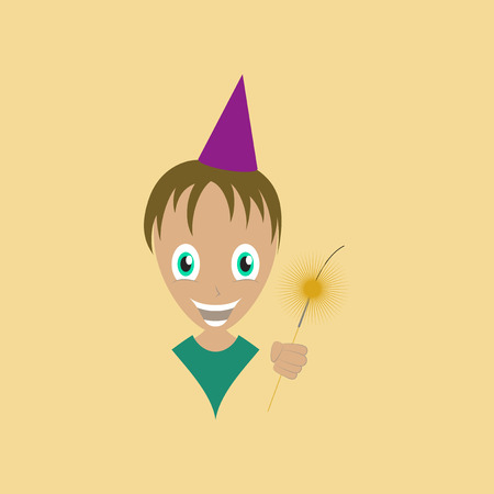 bengal fire: flat illustration on stylish background of child sparkler
