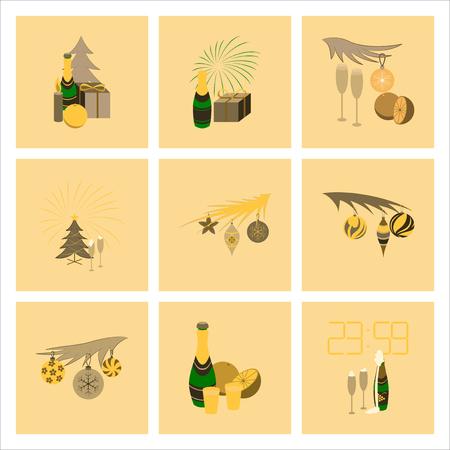 champagne orange: assembly of flat illustration celebration Christmas tree champagne Illustration
