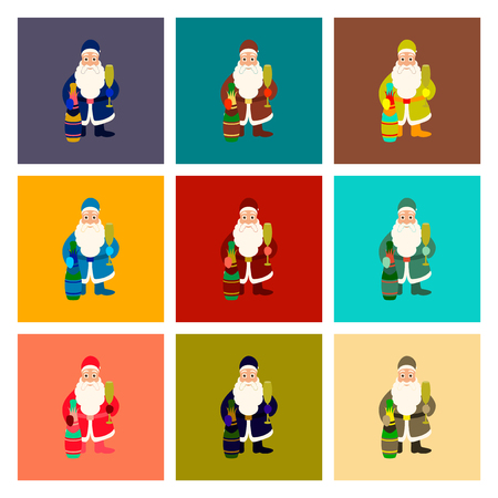 assembly of flat illustration Santa Claus Иллюстрация