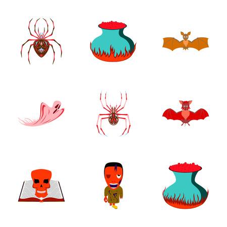 living skull: assembly of flat illustration halloween cute bat spider book skull ghost cauldron zombie men Illustration