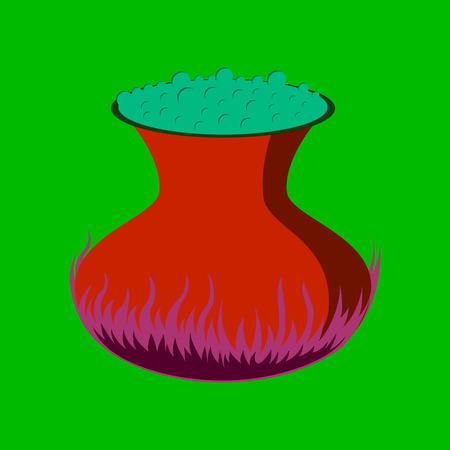 pocion: flat illustration on stylish background of potion cauldron