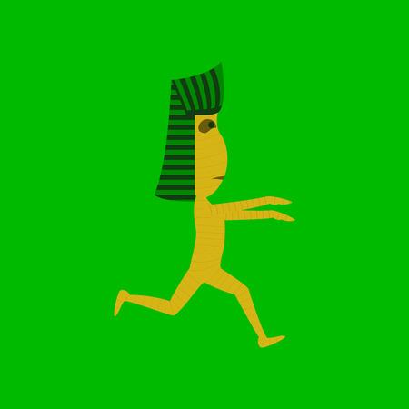 mummified: flat illustration on stylish background of mummy halloween monster Illustration